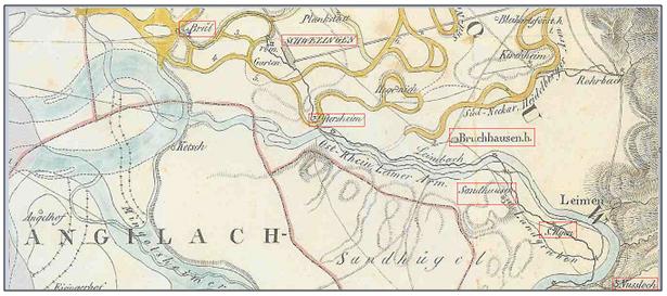 Detailausschnitt, eigene Bearbeitung der historischen Landkarte alter Flussläufe von Rhein und Neckar vom 6. Jahrhundert bis 1850, Quelle: von Litographirt von Jos. Wehrte (Originaltext) (published by BRAUN in Karlsruhe) [Public domain], via Wikimedia Commons