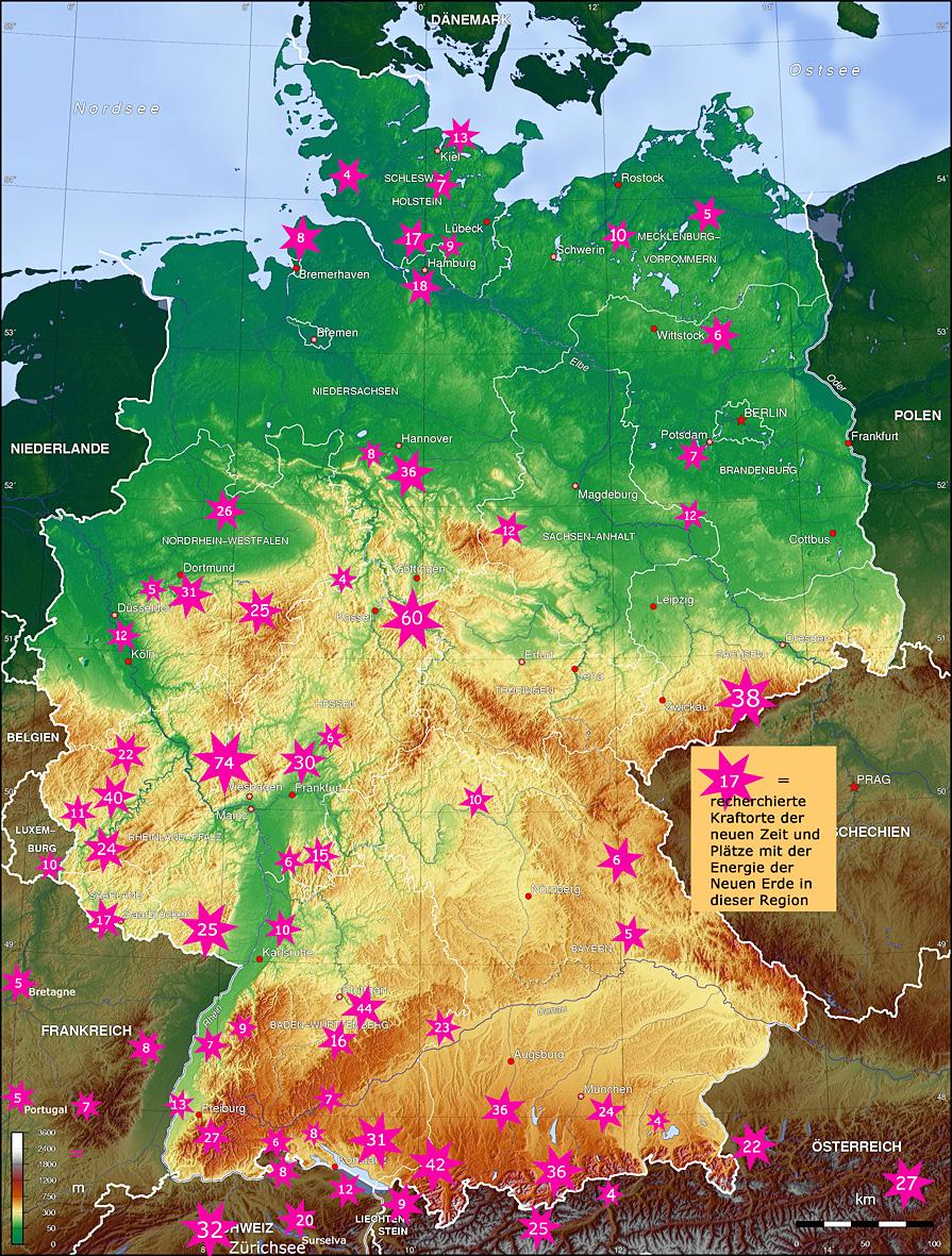 Anzahl der bereits recherchierten Kraftorte der Neuen Zeit in dieser Region