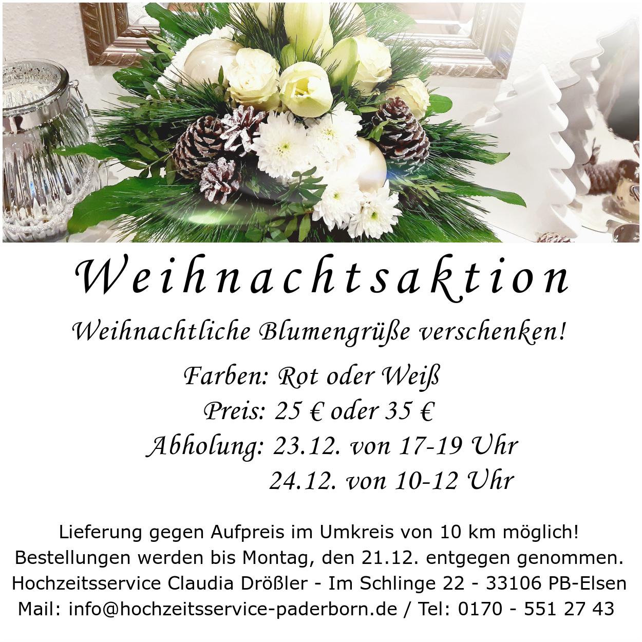 Weihnachtsaktion Hochzeitsservice Claudia Drößler, Weddingplanerin, Floristik, Paderborn,