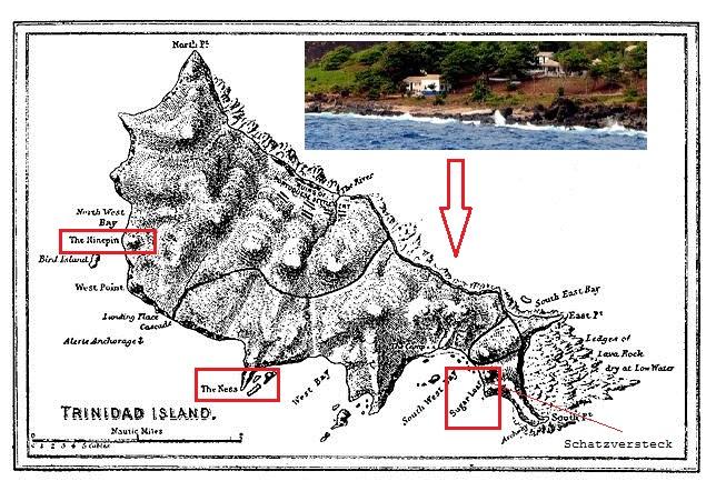 Historische Karte der Insel Trinidad. Urheberschaft: Gemeinfrei (die urheberrechtliche Schutzfrist ist abgelaufen)