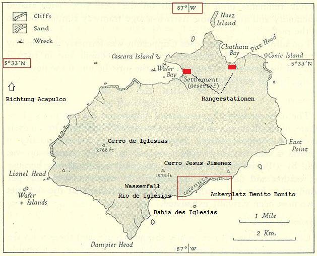 Eigene Bearbeitung, Historische Karte der Kokos-Insel von 1943, Urheberschaft: von Naval Intelligence Division, Admiralty (UK). [Public domain], via Wikimedia Commons
