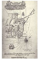 """Karte der Schatzinsel, aus dem Originalroman """"Die Schatzinsel"""" von Robert Louis Stevenson [Public domain]"""