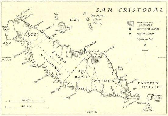 Karte der Insel, mit Distrikten: Arosi, Haununu, Bauro, Ravo, Wainoni, Eastern, Urheberschaft: British Admiralty Naval Intelligence Division [Public domain], via Wikimedia Commons