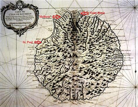 Historische Karte der Insel La Reunion von 1763, Urheberschaft: Atlas maritime, Bellin, 1763 [Public domain], via Wikimedia Commons