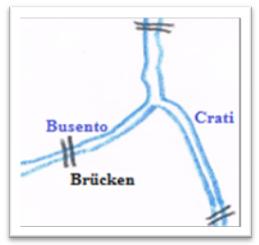 Skizze der Mündung des Busento in den Crati, © Pierre K. Germany 2018, eigenes Werk