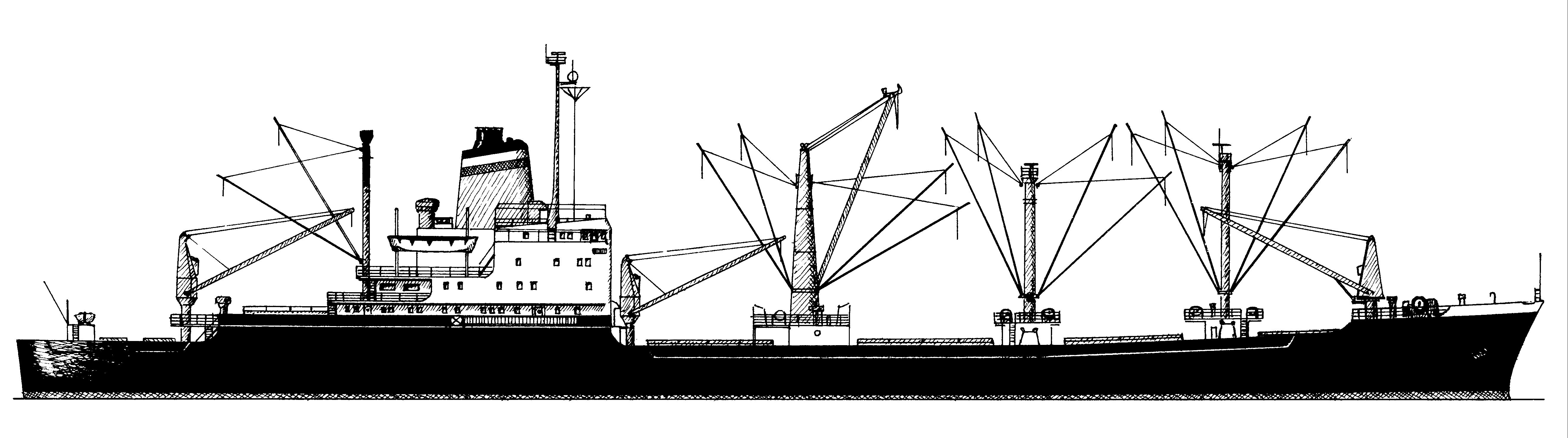 Die Friesenstein-Klasse (ab 1970 HAPAG Lloyd) - Zeichnung K.K. Krüger-Kopiske