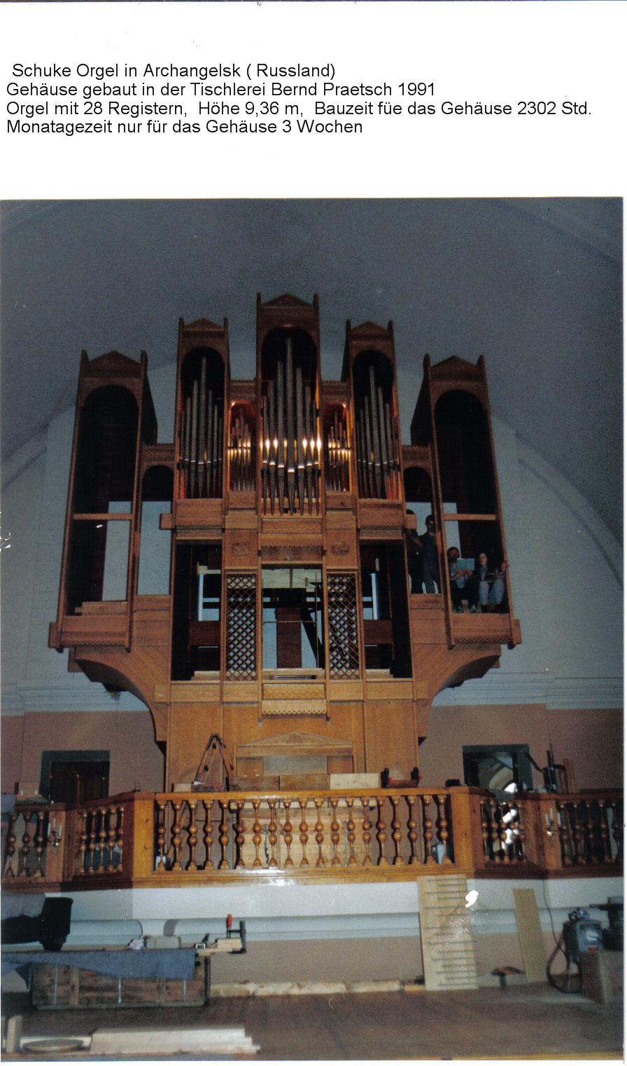 Orgelgehäuse für Schuke, gebaut in der Tischlerei Bernd Praetsch 1990/91- von Olaf Praetsch, Steffen Herre, Frank Praetsch