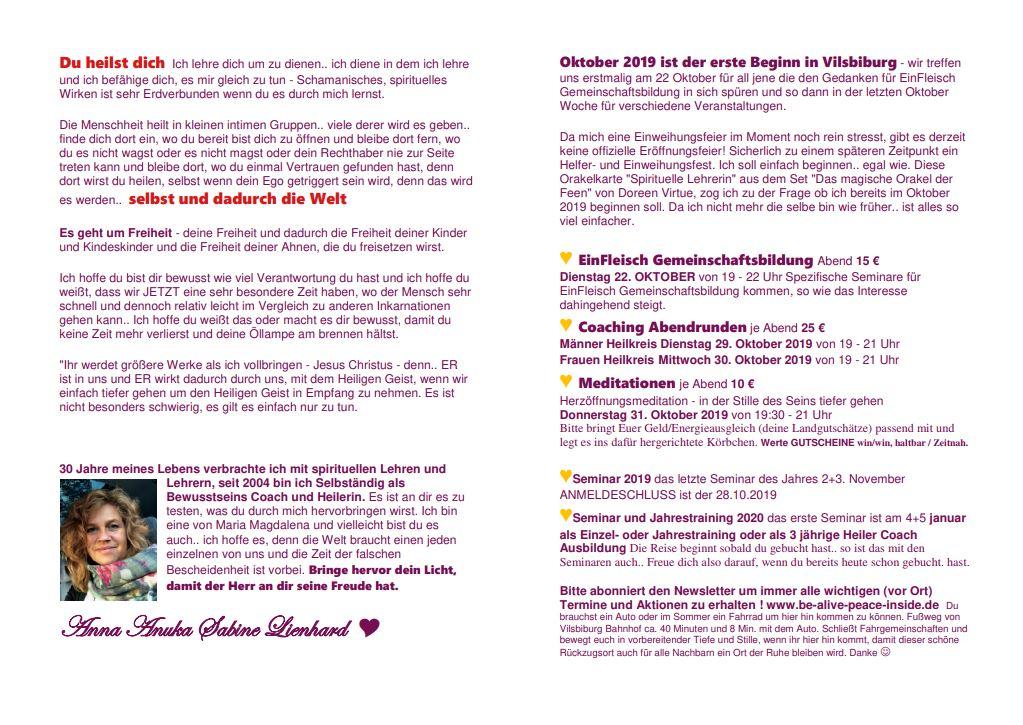 Vilsbiburg Veranstaltungen in Anuka´s Seelenheil Landgut von Anna Anuka Sabine Lienhard www.be-alive-peace-inside.de Flyer Seite 2