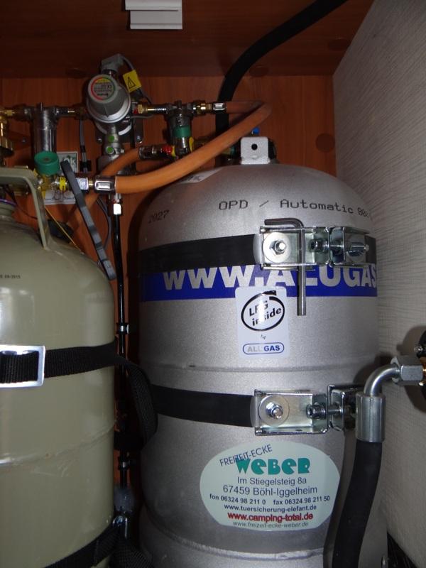 11Kg ALU Gastankflasche eingebaut Hymer Integriert