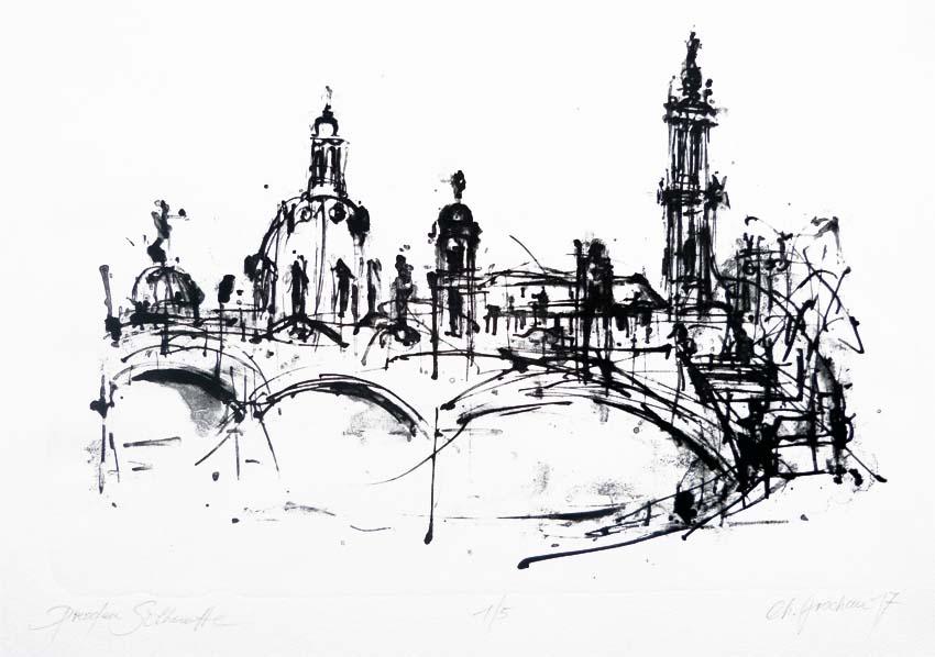 Dresden Sihouette. Steindruck (Tusche). 32 x 43 cm. 2017 Auflage: 5