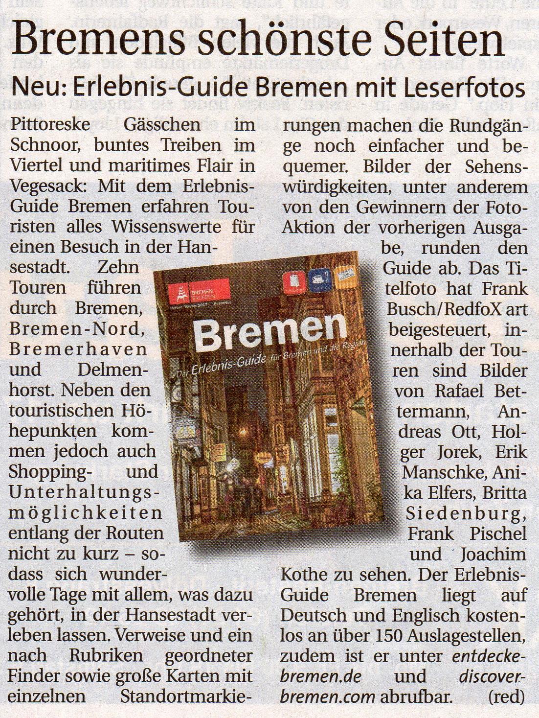 """Zeitungsartikel im """"Weser-Report"""" vom 1.11.2017"""