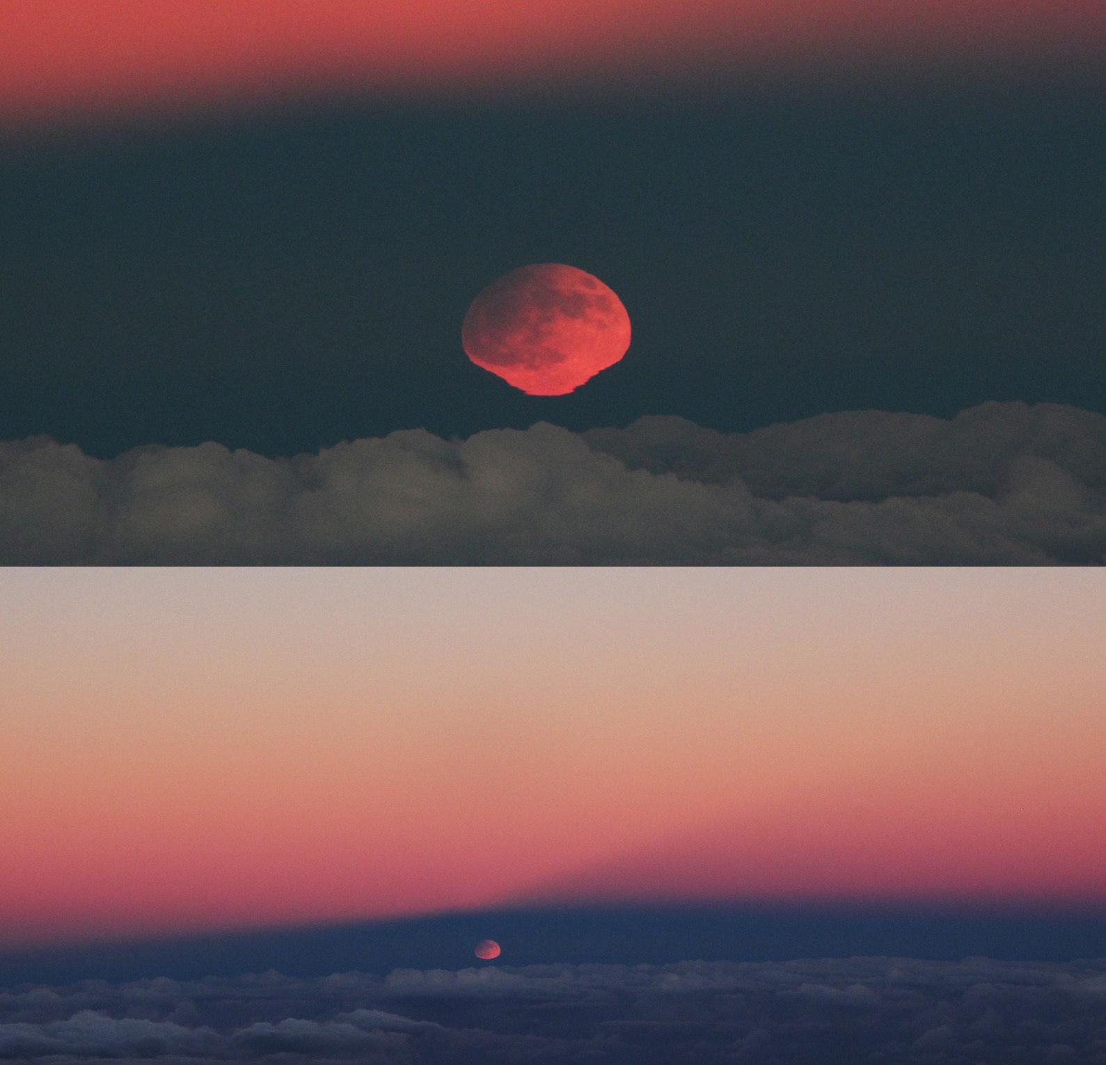 Der partiell verfinsterte Mond erscheint abgeplattet am Horizont - dazu Gegendaemmerungsstrahlen.