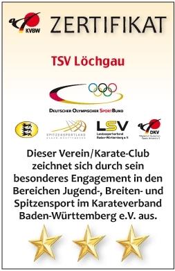 TSV Löchgau Karate Zertifikat