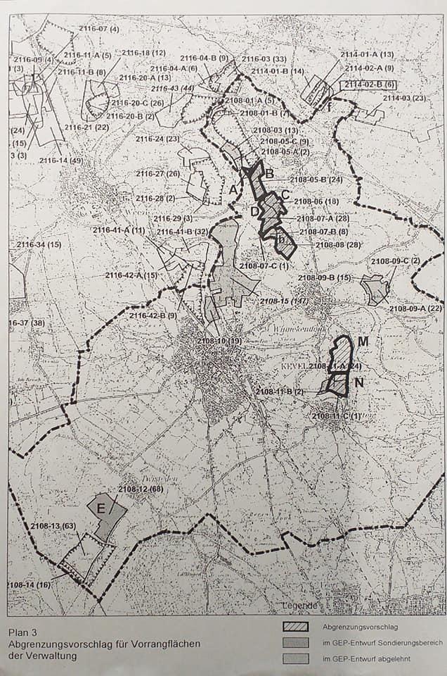 Alte Karte der Kieslagerstätten bei Kevelaer