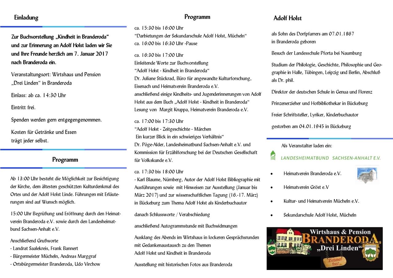 Hinweis-Flyer und Einladungs zur Adolf Holst Veranstaltung am 7. Januar 2017 in Branderoda - Seite 2