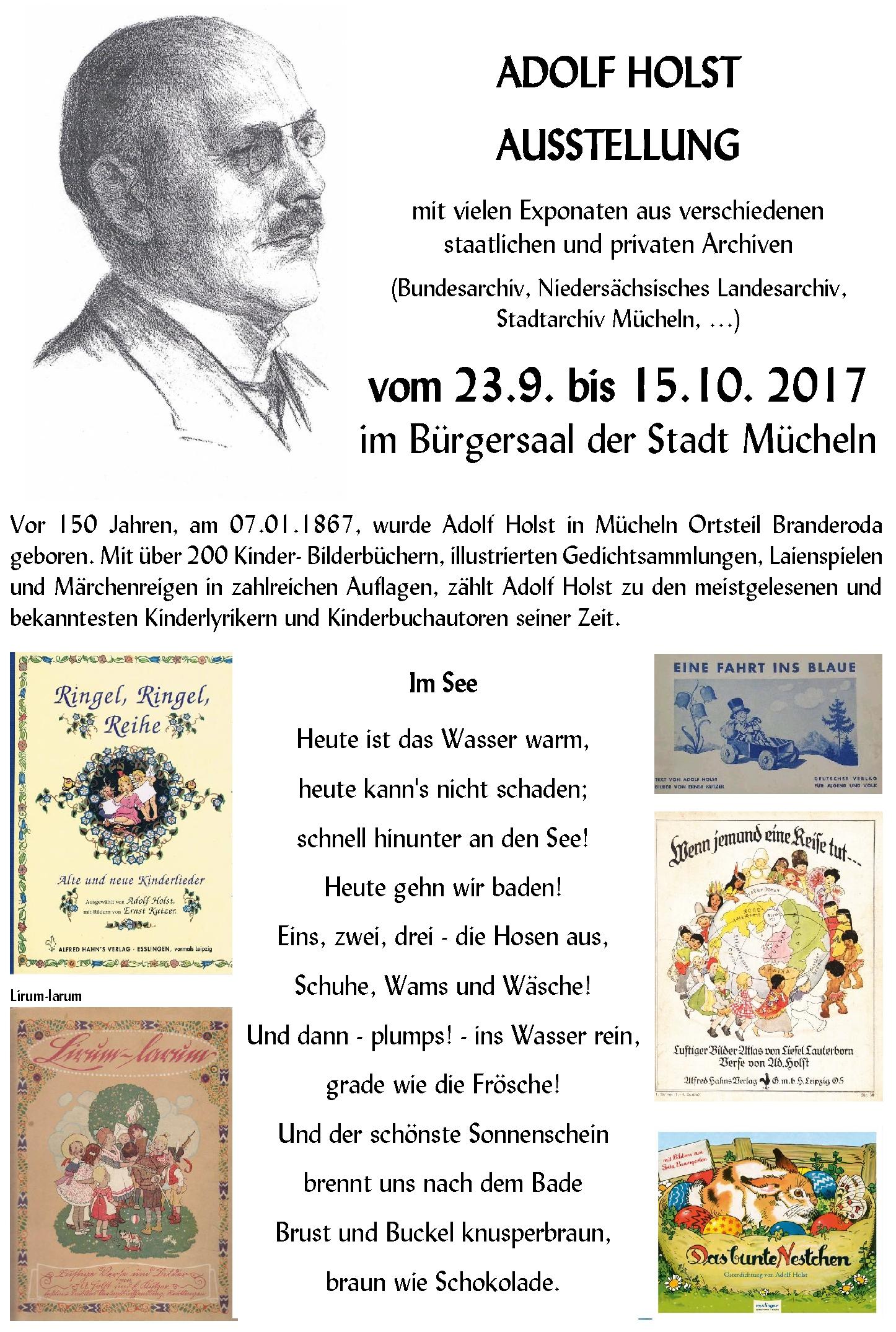 Adolf Holst Ausstellung Hinweisposter