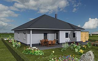 Winkelbungalow 116 / 12 mit großer Wohnküche sowie Carport + Abstellraum