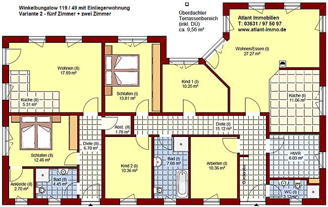Winkelbungalow mit Einliegerwohnung 119 / 49 Grundrissvariante 2