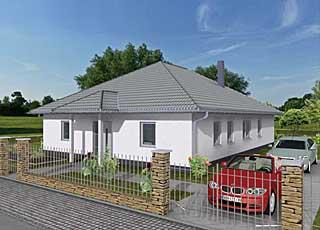Winkelbungalow 140/12 fünf Zimmer mit überdachtem Terrassenbereich