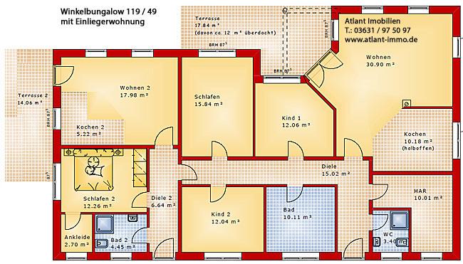 Winkelbungalow mit Einliegerwohnung 119 / 49 Grundrissvariante 1