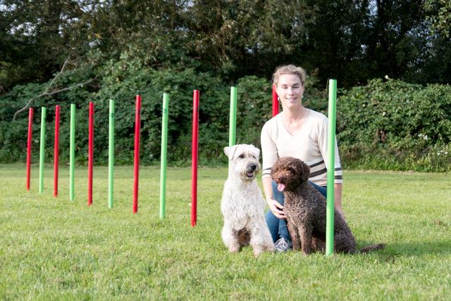 Sandra mit Connor und Fina, Traineranwärterin Agility