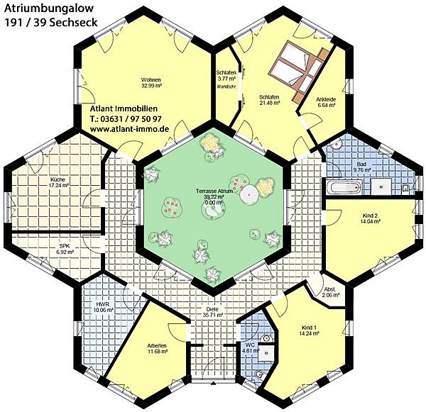 Winkelbungalow mit Atrium 191 / 39 Sechseck Grundriss Erdgeschoss