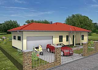 Winkelbungalow 115 / 8 / 32 mit Erker und Garage Hausansicht 1