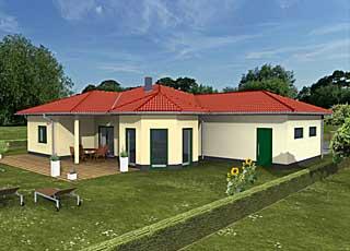 Winkelbungalow 115 / 8 / 32 mit Erker und Garage Hausansicht 2; 115 m² Wohnfläche