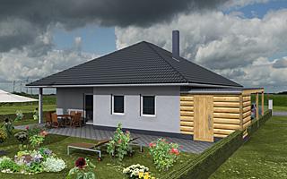 Winkelbungalow 116 / 12 mit großer Wohnküche sowie Carport + Abstellraum Neubau Einfamilienhaus in Massivbauweise