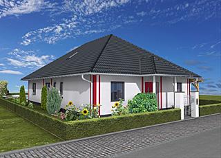 Winkelbungalow 129 / 12 mit ausbaufähigem Dachgeschoss sowie Carport Neubau Massivhaus
