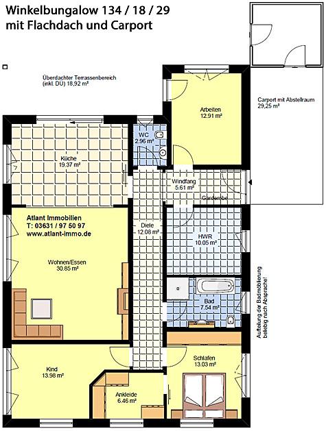 Winkelbungalow 134 / 18 / 29 mit Flachdach und Carport Grundriss Erdgeschoss mit 4 Zimmern