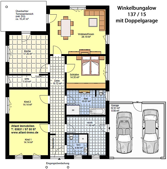 Winkelbungalow 137 / 15 mit Doppelgarage - Grundrissvorschlag mit 4 Zimmern