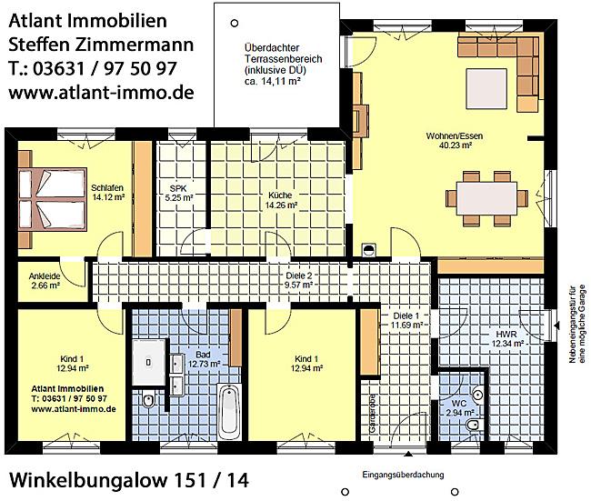 Winkelbungalow 151 / 14 Grundriss Erdgeschoss 4 Zimmer