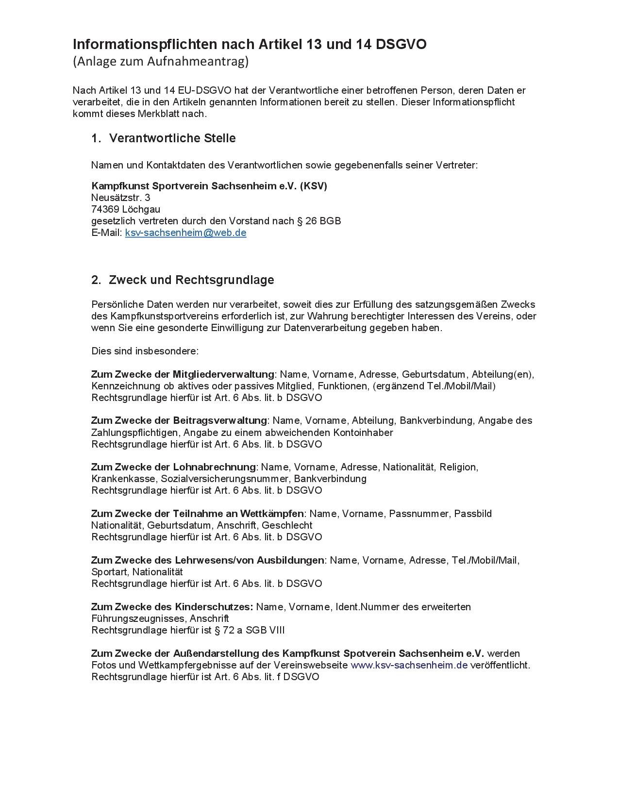 Datenschutz Seite 1. Anlage zum Aufnahmeantrag.