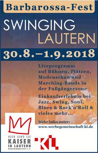 """Das Barbarossa-Fest """"Swinging Lautern"""" findet auch in diesem Jahr wieder in der Kaiserslauterer City statt. Auf verschiedenen Bühnen wird den Besuchern ein abwechslungsreiches musikalisches Programm geboten bei dem Swing, Blues und Jazz im Mittelpunkt stehen."""
